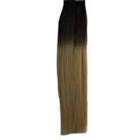 ombre saç uzantıları tutkalı toptan satış-Saç Uzantıları İnsan Saç 100G üzerinde bant 40 ADET Cilt Atkı Tutkal Saç Uzantıları üzerinde 2.5 / PC T1B Ombre Sarışın Kesintisiz