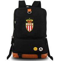 Wholesale team soccer bags for sale - AS Monaco club backpack Football team nice school bag Print badge daypack Soccer schoolbag Outdoor rucksack Sport day pack