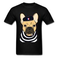 Wholesale Funny Bulldog - Smoking French Bulldog Wear Stripes Funny T-shirt For Men Cartoon Designer Short Sleeve Mens Black Tees Shirt Plus Size