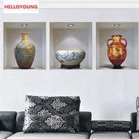 duvar için çince çıkartmaları toptan satış-Çin tarzı seramik vazo vinil duvar çıkartmaları ev dekor dekorasyon oturma odası oturma odası promosyon 3d duvar sticker