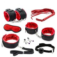 Wholesale sexy games for pc for sale - Group buy 7 Bondage Set Cotton Red BDSM Restraint Sex s for Couple s Sexy Mark Whip Collar for Adult Slave Game Y1893001