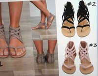 Wholesale Womens Shoes Gladiator - Womens Shoes Flat Heel Rome Sandals 2018 Hot Sale Hollowed Sandals & Flip Flops Breathable Summer Plus Size Female Shoes Black   Grey   Pink