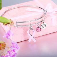 brustcharme großhandel-Rosa Band-Brustkrebs-Charme-Armbänder Neue Designer Erweiterbare Draht nette Armband-Armband-Geschenk für Frauen Nursing Survivor Schmuck