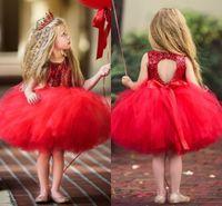 vestido de niña de flores de lentejuelas rojas al por mayor-Lentejuelas de tul tutú rojo Vestidos de niñas de flores Hasta la rodilla Ojo de la cerradura Vestido de fiesta Vestidos de fiesta de cumpleaños para niños pequeños Vestidos para bebés