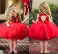 robe fleur fille sequin rouge achat en gros de-Tutu Rouge Tulle Paillettes Fleur Filles Robes Genou Longueur Keyhole Retour Robe De Bal Petits Enfants Anniversaire Robes De Fête D'anniversaire Robes Infantile Robes