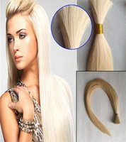 Wholesale blond braiding hair resale online - 100g Human Braiding Hair Bulk Straight Brazilian Hair Bulk Blond Bulk Natural Raw Hair