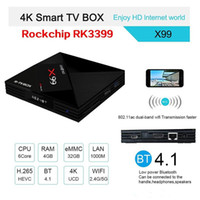 Wholesale c media player - RK3399 with Dual-Core X99 Amlogic S912 Voice Remote Contro Type-C 3.0 Android 7.1 TV BOX 4K BT4.1 Smart Media Player High Quality