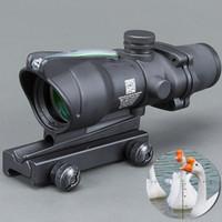 fibra ótica venda por atacado-Trijicon Caça Riflescope ACOG 4X32 Real Fibra Óptica Vermelho Verde Iluminado Chevron Vidro Gravado Reticle Tactical Optical Sight