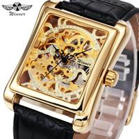 rechteckiges gehäuse großhandel-GEWINNER Männer Luxus Mechanische Uhren Lederband Luxus Retro Marke Design Rechteckigen Fall Skeleton Business Armbanduhr