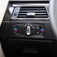 Wholesale Black Headlight Cover - Carbon fiber Car Headlight Switch Frame Decoration Cover Trim for BMW 3 series e90 e92 e93 320i 325i 2005-12 Car styling