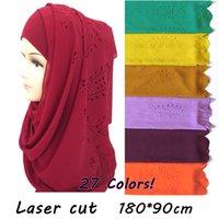 простые женские шарфы оптовых-20pcs / lot цветочного лазера Cut Bubble шифон шарф шаль мусульманский Hijab женщин обруч Plain твердых цветов большой размер 180 * 90cm