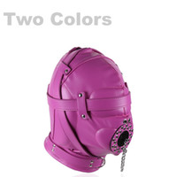 Wholesale Zentai Bondage - Bondage Gear Hood Full Cover Muzzle Zentai Mask with Detachable Mouth Gag Lace Restriction Gimp Costume Hoods Black Pink Color