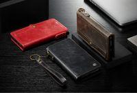 billetera de tarjeta de crédito al por mayor-Funda para Samsung Galaxy S8 S9 / S8 S9 Plus con correa para la muñeca Flip Wallet Magnetic All in One Purse Phone Bag Tarjeta de crédito Multifunción