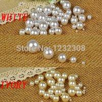 18mm weiße perlen großhandel-Weiße Farbe 1,5 mm bis 18 mm kein Loch Runde Perlen keine Loch Nachahmung Runde Perlen Handwerk Perlen DIY Schmuck machen Dekorationen
