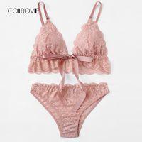 432fabd9dc4d COLROVIE Pink Wireless Scalloped Trim Lace Lingerie Set 2018 New Summer Bow  Tie Sexy Women Bra & Brief Sets loral Underwear Set