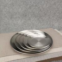 placas de pratos de metal venda por atacado-5 Tamanho de Aço Inoxidável Prato de Jantar Placa Plana Utensílios de Cozinha Louça Restaurante Separação Bandeja