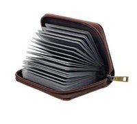 ingrosso supporto di carta di credito in plastica per il portafoglio-2018 Brand Business Card Porta carte da donna Men Card Pack Porta carte di credito in vera pelle CardHolder da 26 slot