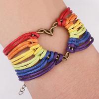 ingrosso braccialetto del wristband fatto a mano-Braccialetto fatto a mano Braccialetto Gay Pride Braccialetti di cuoio Amore Gioielli Arcobaleno Amicizia Lesbica LGBT Wristband per le donne degli uomini