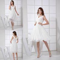Wholesale sexy little white beach dresses - Little White Chiffon Short Wedding Dresses A Line V Neck Wedding Guest Dress Bridesmaids Gowns Cheap WD2-008