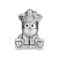 New Authentic 925 Sterling Silver Animal Beads Vintage Cute Bruno The Unicorn Beads Fit Brand Charm Bracelet Bangle Diy Fashion Jewelry