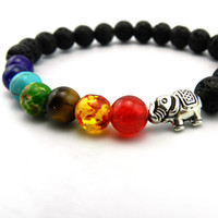 Wholesale invisible elephant - Natural Stone Beads 7 Chakra Healing Balance Elephant Bracelete Feminino Yoga Reiki Prayer Bead Bracelet for Men Women