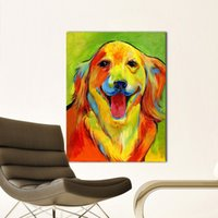 lindos pops venda por atacado-Retratos da parede Da Arte Da Lona Pintura Adorável Cão Animal Pintura de Parede para Sala de estar Pop Art Home Decor Sem Moldura