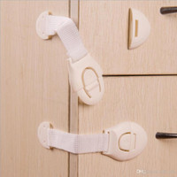 Wholesale cabinet solid - With adhesive tape Soft PVC Drawer lock Baby Safety lock for Cabinet Door Kids Care Hands Pinch injury Cushion lock window refrigerator