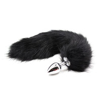 Wholesale funny anal toys - Black Faux Fox Tail Butt Anal Plug Metal Funny Adult Sex Toys For Woman Erotic Flirt Products For Adult Games