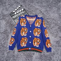 Wholesale tiger knit sweater - Top quality Luxury Sweaters tiger print High street fashion clothing black 2XL m207