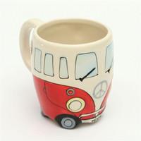 Wholesale Buses Steels - Cute Originality Ceramic Cups Hand Painting Retro Double Decker Bus Mug Coffee Milk Tea Cup Water Bottle Drinkware Gift
