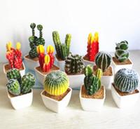 ingrosso falsi piani per ufficio-Piante artificiali succulente paesaggio falso cactus home office decorazione fai da te falso bonsai con pentole quadrate in ceramica