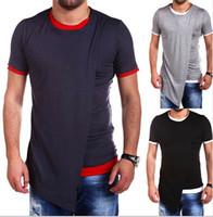 nuevo tipo de color de la camisa al por mayor-Camisetas con cuello redondo para hombre Camisetas falsas con dos piezas irregulares Nuevo tipo de camiseta 3 colores