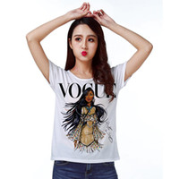 Wholesale dolman batwing - Track Ship + Vintage Retro T-shirt Top Tee Personality Model Vogue Brown Skin Girl 0779