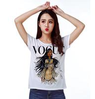 Wholesale dolman sleeve shirts - Track Ship + Vintage Retro T-shirt Top Tee Personality Model Vogue Brown Skin Girl 0779