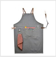 Wholesale gray canvas painting - Brief multi-pocket Gray Denim Apron Hairdressers Manicurist Restaurant Floral Painting Barber Men's and Women's Working Aprons