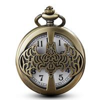 steampunk bronz zincir toptan satış-Bronz Hollow Cep İzle Zincirler Kolye Vintage Kuvars Cep Saatler Steampunk Hediyeler Çocuklar Saatler Reloj De Bolsillo