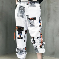 09c1acc9c4cb SHENGPALAE Pantaloni sportivi da donna Pantaloni Pantaloni Vita alta  Sciolto Traccia lunga PANTALONI Palazzo Hip Hop Nero Bianco Streetwear FF974