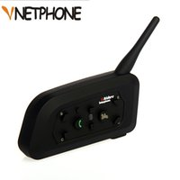 ingrosso bt casco auricolare-V6 Bluetooth Intercom Accessori per casco da moto Altoparlante 1200m 6 Riders Interphone Headset Supporto BT Wireless Mp3 Music GPS