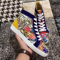 Wholesale cheap cotton dresses for women - Cheap Spikes Red Bottom Sneakers Shoes For Men Women Casual Walking Outdoors Sneaker Party Wedding Dress EU35-46