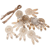 Wholesale handmade holiday decorations - Handmade Wood Dream Catcher Feather Hanging Engraved Laser Cut Wooden 3mm Ornaments Home Wall Decor Rustic Wedding Favors Dreamcatcher