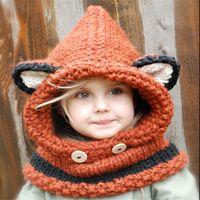 tilki kap eşarp toptan satış-Sıcak Bebek Şapka Kap Kedi Kulak Tilki Kış Beanie Şapka Çocuk Rüzgar Geçirmez Şapka Eşarp Erkek Kız El Yapımı Örme Kap Skullies Kalın Yumuşak Beanies
