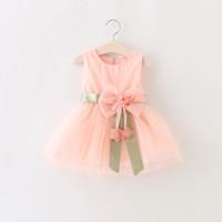 ingrosso organza di stampa floreale-New Infant Kids Bambina bambino Vestito a-line senza maniche con stampa floreale Kid Princess Party Dance Dress Big bow style 1-3Y