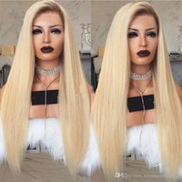 Wholesale blonde long hair styles - New Sexy Style 150% Density Long Straight Ombre Blonde Lace Front Wig With Baby Hair Glueless Heat Resistant Synthetic Wigs For Black Women
