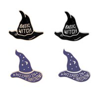 Wholesale witches wizard hats - Enamel Pin Badge Brooch Basic Witch Hat Wizard In Training Magic Warlock Halloween Creepy Gothic Enamel Lapel Pins
