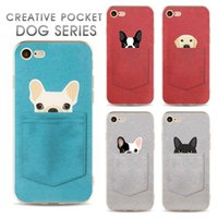 Wholesale puppy iphone case - Phone case For iPhone 5 5S 6 6S 7 8 Plus X cute creative pocket dog puppy cat kitten Soft TPU silicone back Cover Coque Fundas+protector