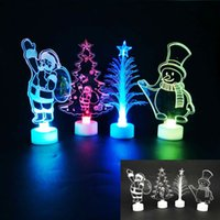 árvores de natal conduzidas acrílicas venda por atacado-Led Christmas Night Light Cartoon Acrylic Lamps On Table Flashing Night Lights For Santa Claus Christmas Tree Decoration Gifts HH7-1846