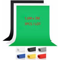 ingrosso sfondi di fotografia verde-3PCS / LOT 1.6X3m Grigio Blu Bianco Nero Studio fotografico Schermo verde Chroma key Sfondo Sfondo per illuminazione fotografica in studio