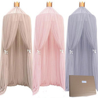 Wholesale crib dome resale online - Solid Dome Crib Netting Baby Curtain Dream Lace Series Mosquito Repellent Light Thin Breathable Gauze Shape Circular Castle Translucent
