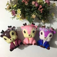 Wholesale china deer - Jumbo Kawaii Squishy Sika Deer Decompression Toys Squishies Animal Shape Photography Take Photo Prop Multi Color 35rb C