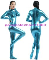 blaues kopfkleid großhandel-Sexy Body Suit Kostüme Unisex Lake Blue Shiny Lycra Metallic Anzug Catsuit Kostüme Kein Kopf / Hand Halloween Kostüm Cosplay Kostüme P342